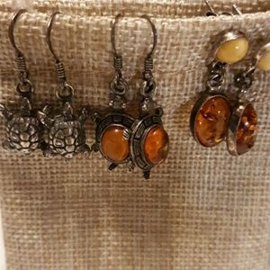 Sterling silver and Amber earrings set of 3